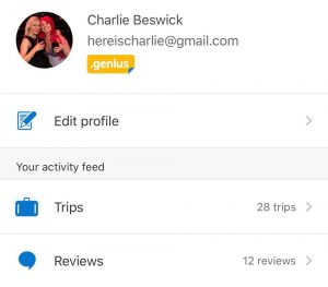 my booking.com profile showing 25 trips and 12 reviews