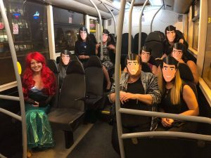 hen weekend. Ariel and her Prince Erics on the free bus
