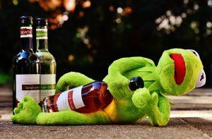 being a parent ~ kermit drinking wine