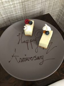 city break - happy anniversary written on a plate