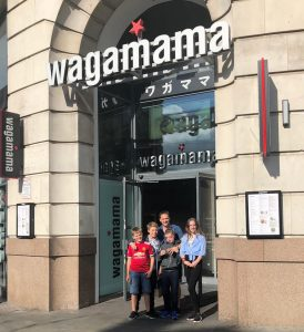 Young aviators day - The gang smile for a photo outside wagamamas