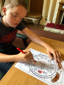 birthday weekend in Nottingham - Harry colouring in at the museum