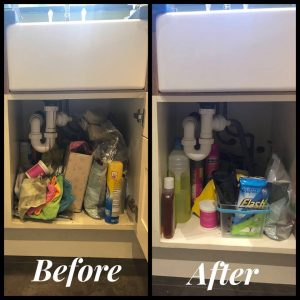 The rise of Mrs Hinch - Before and after under the sink
