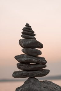A tower of stones balance on top of each other
