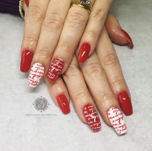 my manicured nails red and white
