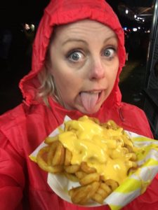 me looking washed out eating cheesy chips at V festival