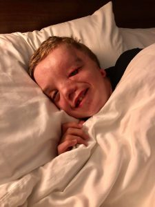 Autism and sleep - an excited Harry in bed