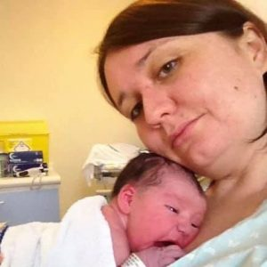 Tina and her newborn