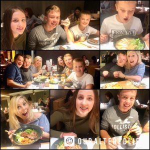 6 of us enjoying wagamamas