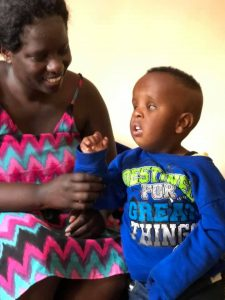 Naomi and her son Bravin who is blind