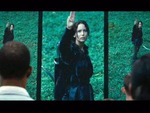 Iconic image of Katniss saluting